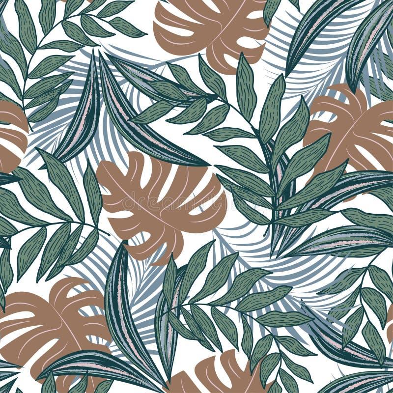 Teste padrão sem emenda do sumário da tendência com as folhas e as plantas tropicais coloridas no fundo bege Projeto do vetor C?p fotos de stock royalty free
