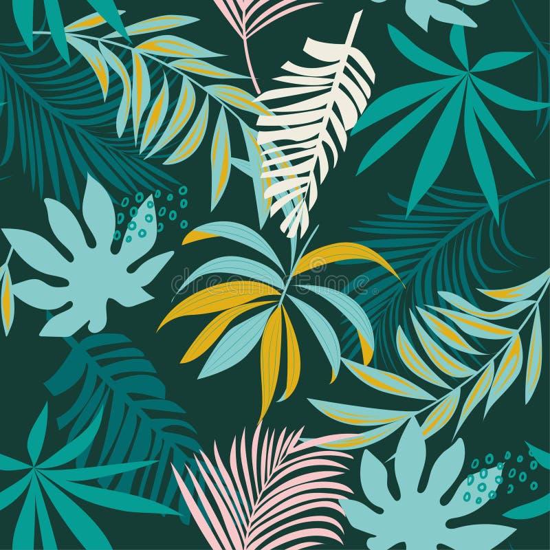 Teste padrão sem emenda do sumário da tendência com as folhas e as plantas tropicais coloridas Projeto do vetor C?pia da selva Fu imagem de stock