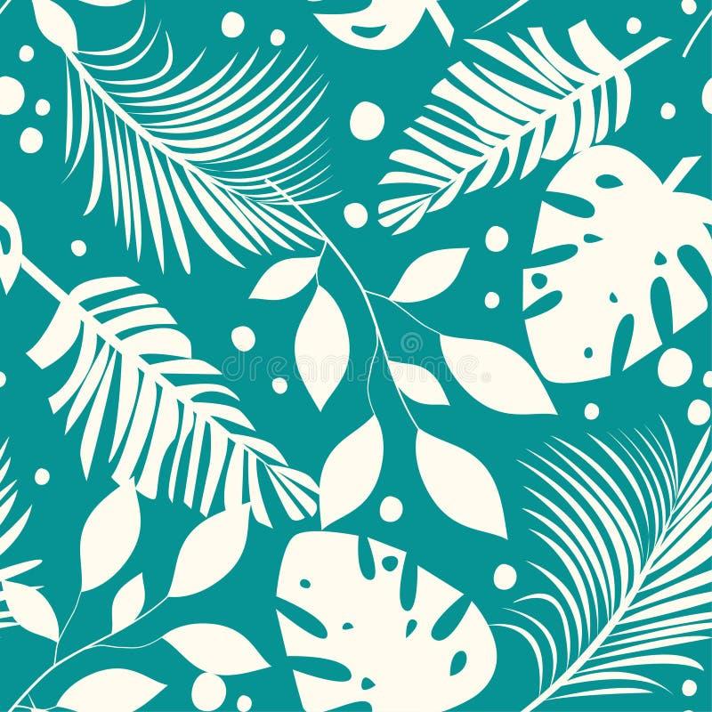 Teste padrão sem emenda do sumário da tendência com as folhas e as plantas tropicais coloridas Projeto do vetor C?pia da selva Fu ilustração stock