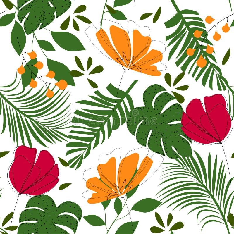 Teste padrão sem emenda do sumário da tendência com as folhas e as plantas tropicais coloridas Projeto do vetor C?pia da selva Fu ilustração royalty free