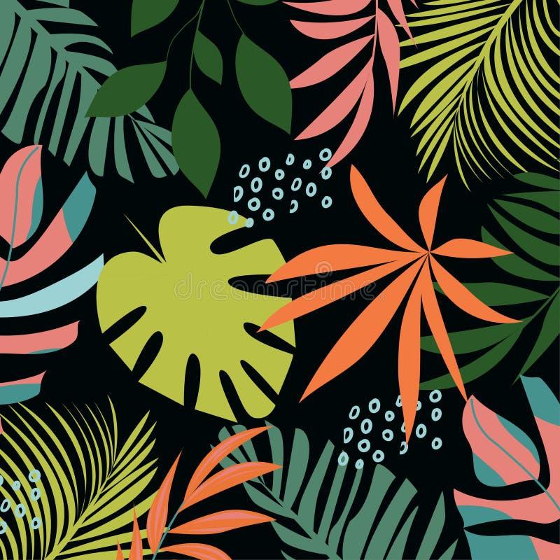 Teste padrão sem emenda do sumário da tendência com as folhas e as plantas tropicais coloridas Projeto do vetor C?pia da selva Fu ilustração do vetor