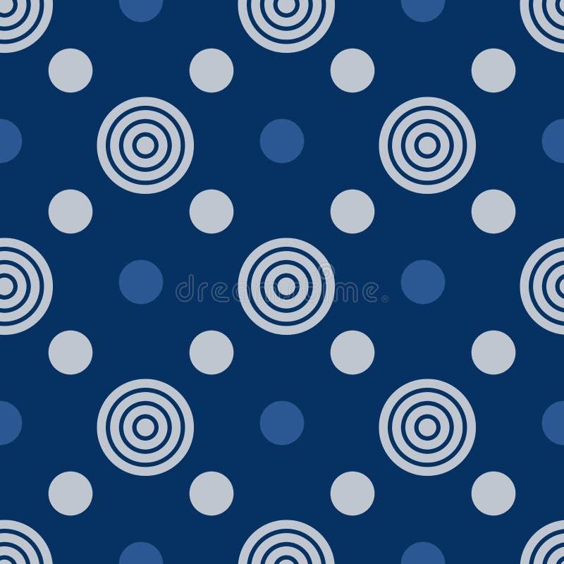 Teste padrão sem emenda do sumário do vetor com círculos azuis de tamanhos diferentes Fundo para o vestido, fabricação, papéis de ilustração royalty free