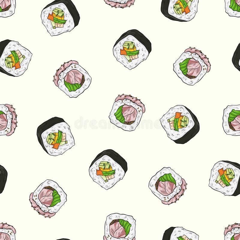 Teste padrão sem emenda do sushi ilustração do vetor