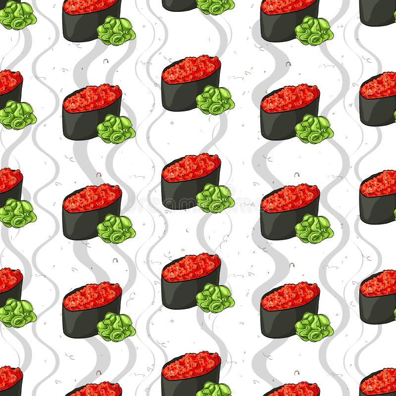 Teste padrão sem emenda do sushi ilustração royalty free