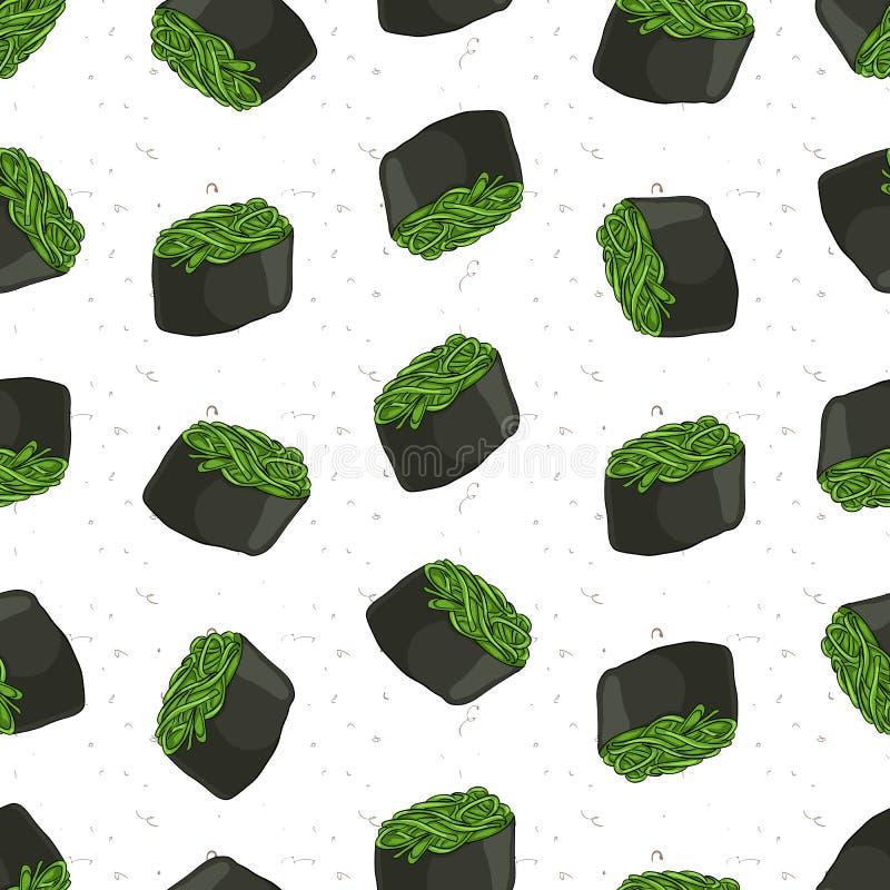 Teste padrão sem emenda do sushi ilustração stock
