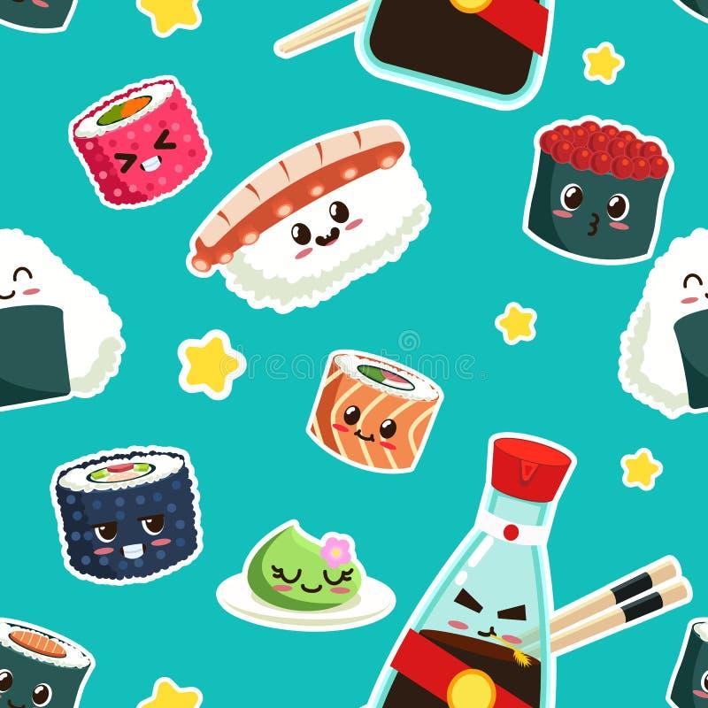 Teste padrão sem emenda do sushi bonito ilustração stock