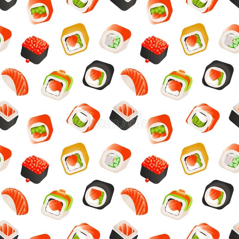 Teste padrão sem emenda do sushi e dos rolos, ilustração colorida do backround do vetor japonês do alimento Envolvendo o molde ilustração do vetor
