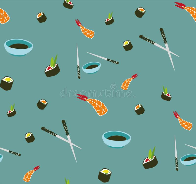 Teste padrão sem emenda do sushi do vetor Alimento asiático ilustração stock