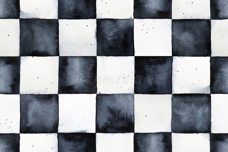Teste padrão sem emenda do tabuleiro de xadrez da aquarela ilustração royalty free