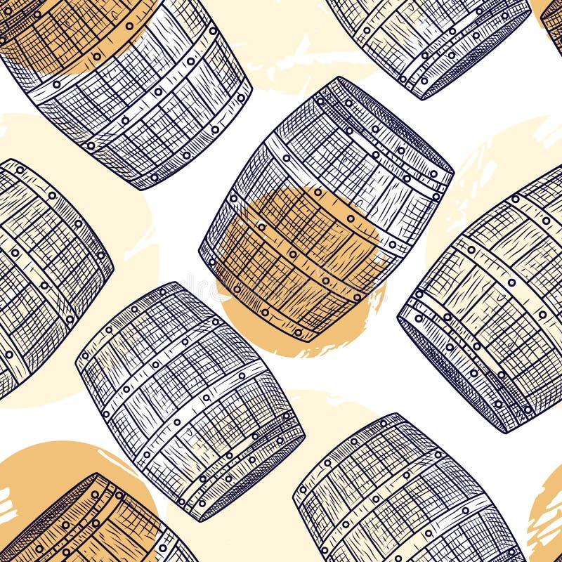 Teste padrão sem emenda do tambor de madeira Estilo da gravura Papel de envolvimento do álcool ilustração do vetor