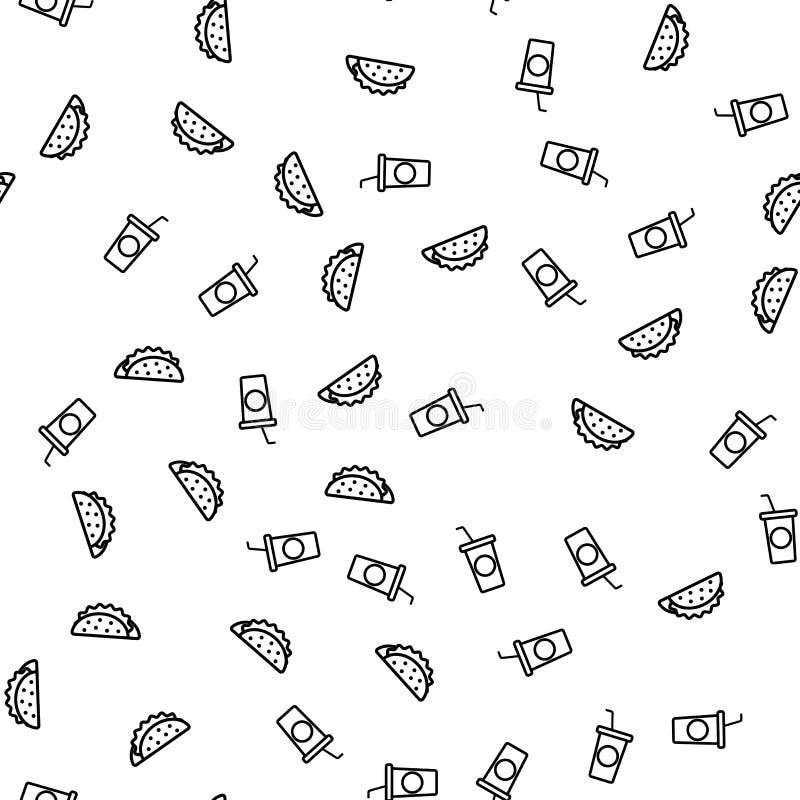 Teste padrão sem emenda do tema da bebida do fast food e da soda ilustração royalty free