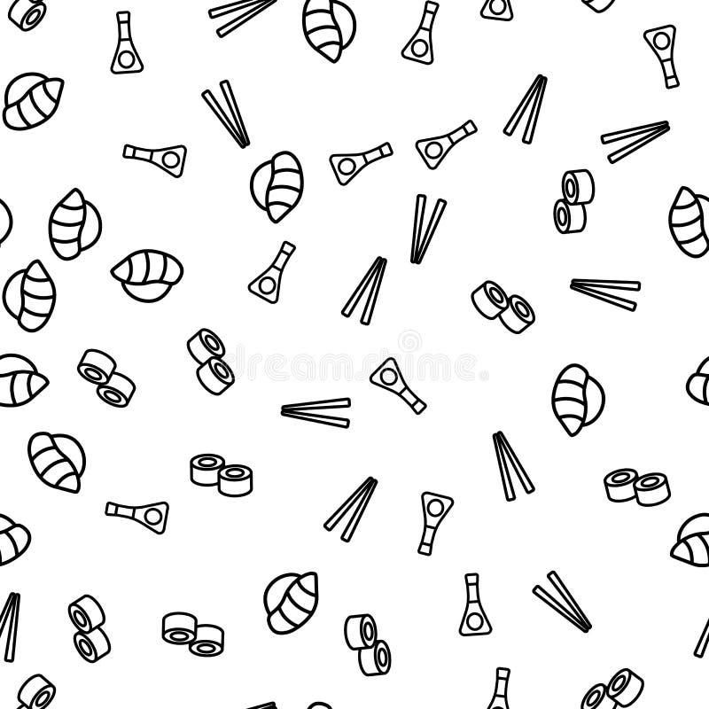 Teste padrão sem emenda do tema da soja do molho dos hashis do sushi ilustração royalty free