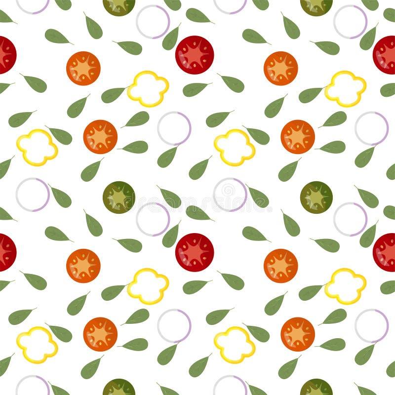 Teste padrão sem emenda do tomat vermelho das fatias do legume fresco, pepino verde, pimenta amarela, cebola branca ilustração do vetor