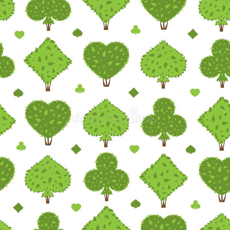 Teste padrão sem emenda do Topiary Quatro formas dos ternos dos arbustos: coração, pá, clube, diamante ilustração stock