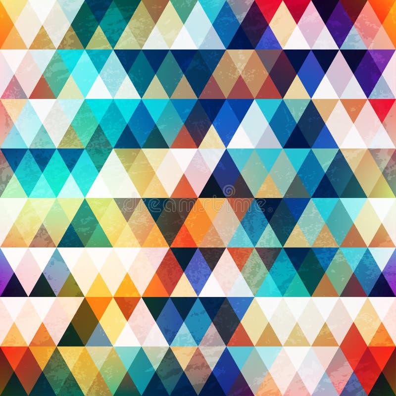 Teste padrão sem emenda do triângulo brilhante com efeito do grunge ilustração stock