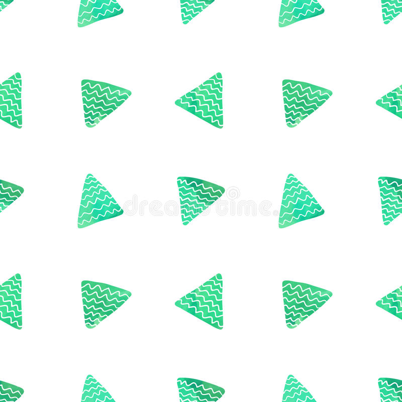Teste padrão sem emenda do triângulo do vetor da aquarela (verde de turquesa) Teste padrão geométrico abstrato ilustração stock