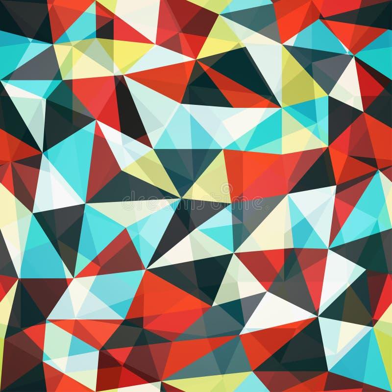 Teste padrão sem emenda do triângulo retro do mosaico ilustração stock