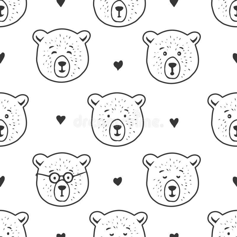 Teste padrão sem emenda do urso bonito Ilustração desenhada mão do vetor ilustração stock