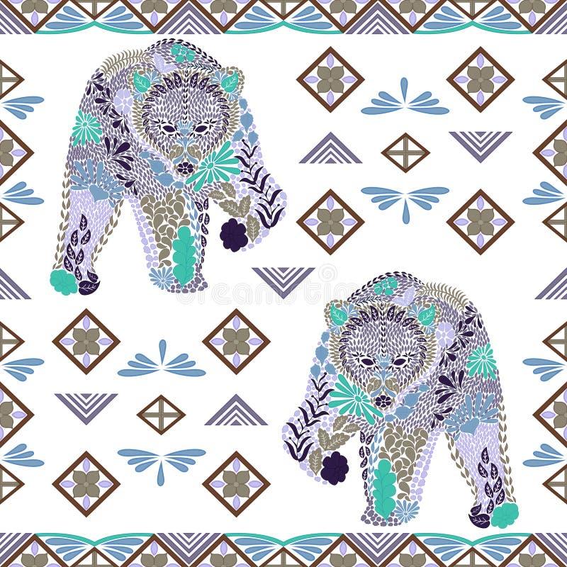 Teste padrão sem emenda do urso feito das flores, folhas no estilo étnico ilustração do vetor