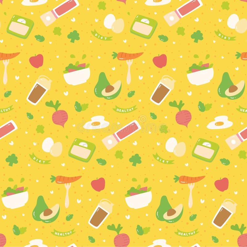 Teste padrão sem emenda do vário alimento saudável ilustração royalty free