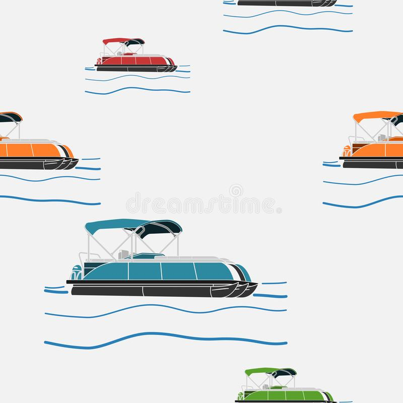 Teste padrão sem emenda do vário barco do pontão da cor ilustração royalty free