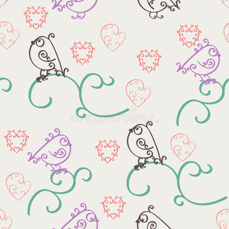 Teste padrão sem emenda do Valentim abstrato retro Projeto romântico da nostalgia com ondas, corações e pássaros Pode ser usado p ilustração royalty free