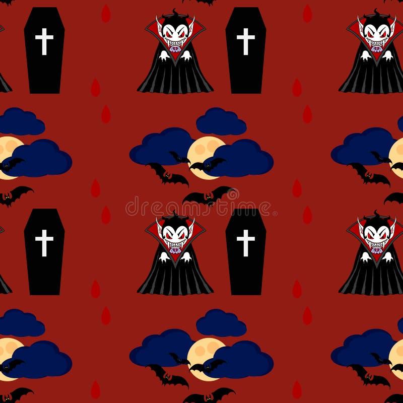 Teste padrão sem emenda 2 do vampiro ilustração stock