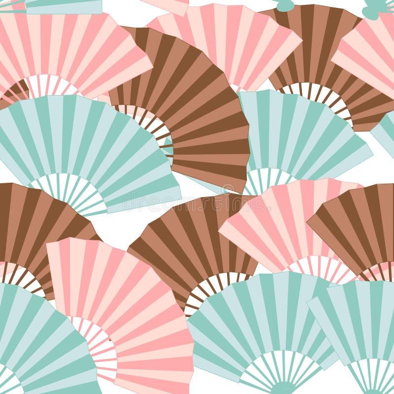 Teste padrão sem emenda do ventilador japonês colorido ilustração stock