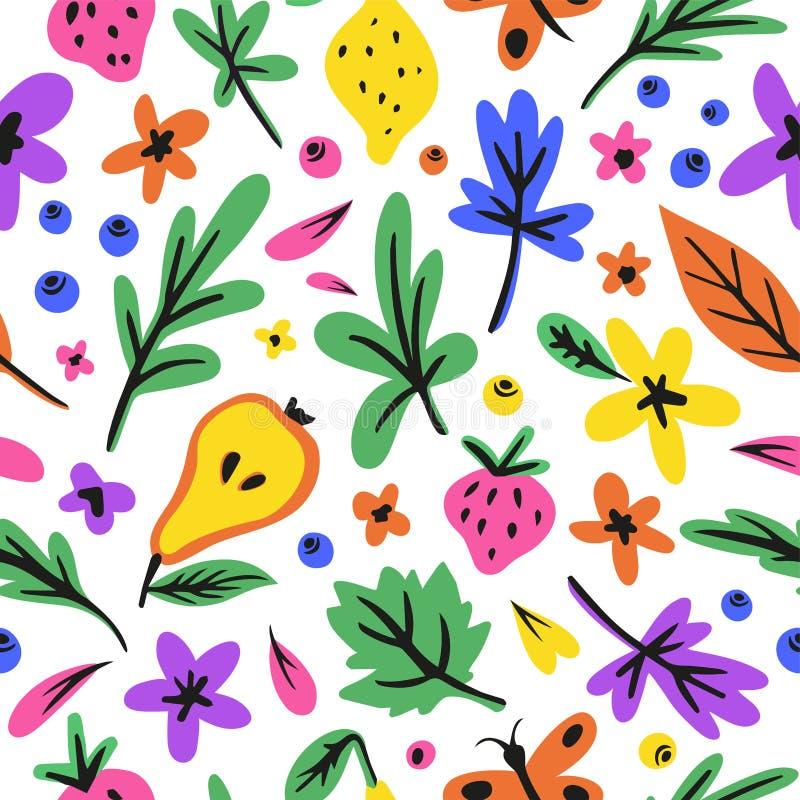Teste padrão sem emenda do verão botânico brilhante bonito com flores, frutos, borboleta, folhas diferentes ilustração royalty free