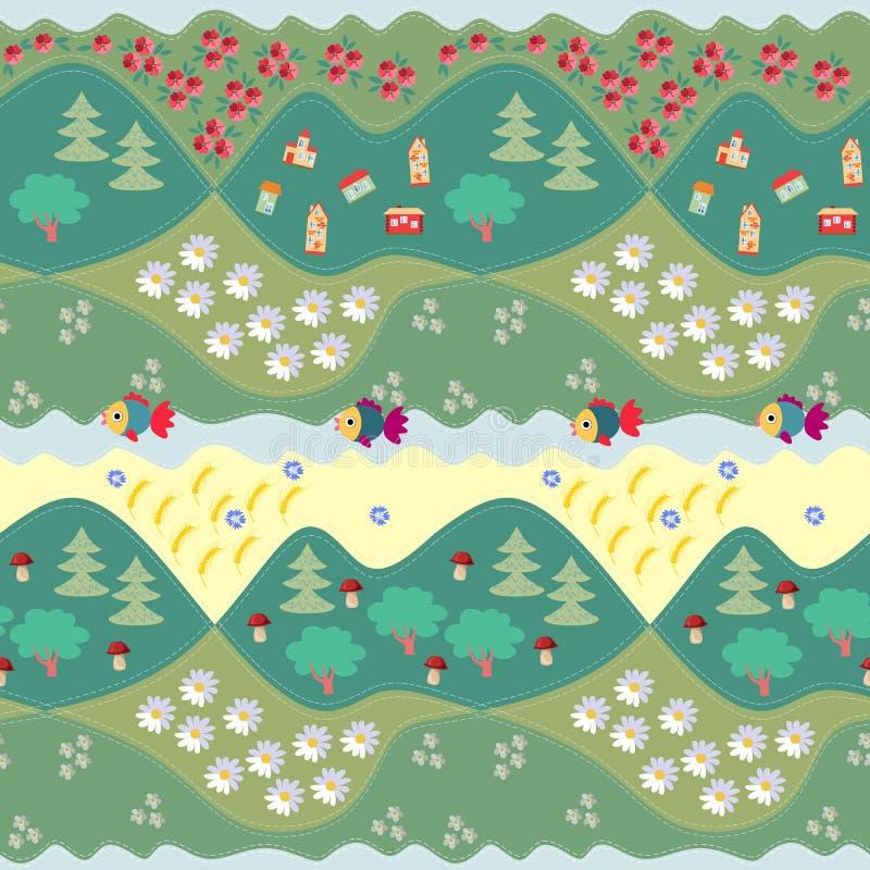 Teste padrão sem emenda do verão - 1 Cópia para a tela, papel, papel de parede ilustração royalty free