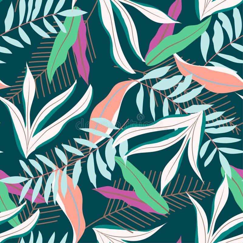 Teste padrão sem emenda do verão colorido com as folhas tropicais no fundo escuro Projeto do vetor C?pia da selva Fundo floral ilustração do vetor