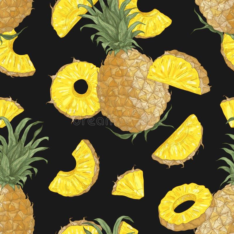 Teste padrão sem emenda do verão com abacaxis doces, todo e corte em partes e em fatias no fundo preto Contexto com ilustração royalty free