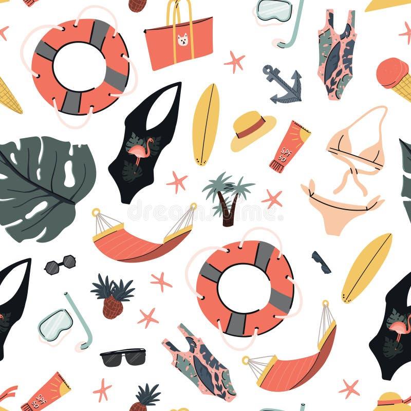 Teste padrão sem emenda do verão com acessórios da praia: roupas de banho e óculos de sol, prancha e folhas de palmeira ilustração stock