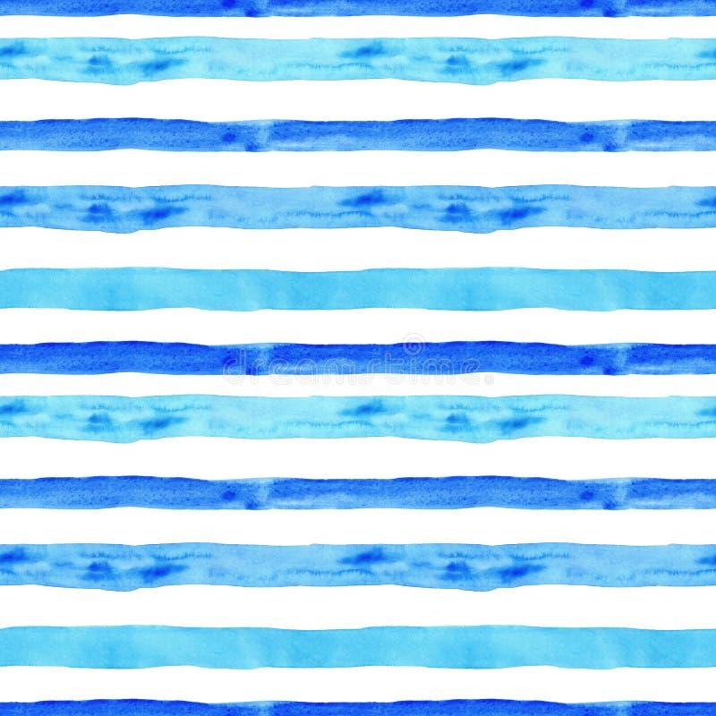 Teste padrão sem emenda do verão com as listras horizontais azuis da aquarela no fundo branco textura tirada mão com vibrações da ilustração royalty free
