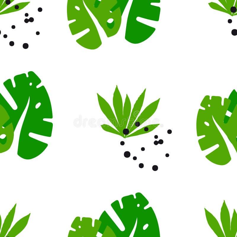 Teste padrão sem emenda do verão com as plantas tropicais bonitos no fundo branco Ornamento para a matéria têxtil e o envolviment ilustração do vetor