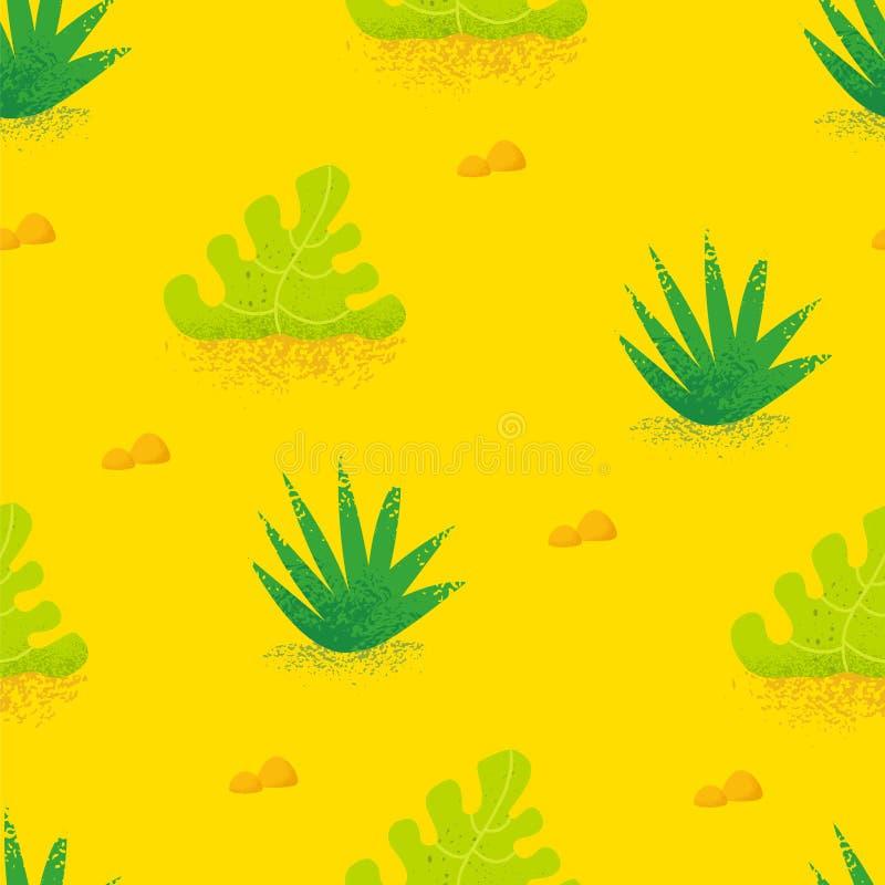 Teste padrão sem emenda do verão com as plantas tropicais no fundo amarelo Ornamento para a matéria têxtil e o envolvimento Vetor ilustração stock