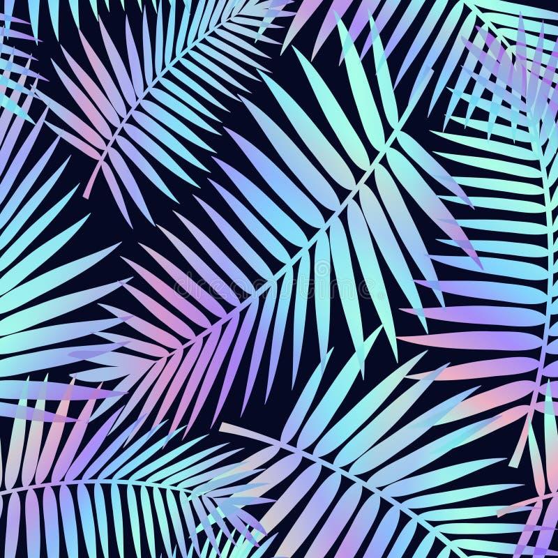Teste padrão sem emenda do verão com folhas tropicais e efeito holográfico Cópia colorida do verão para a matéria têxtil, os cart ilustração royalty free