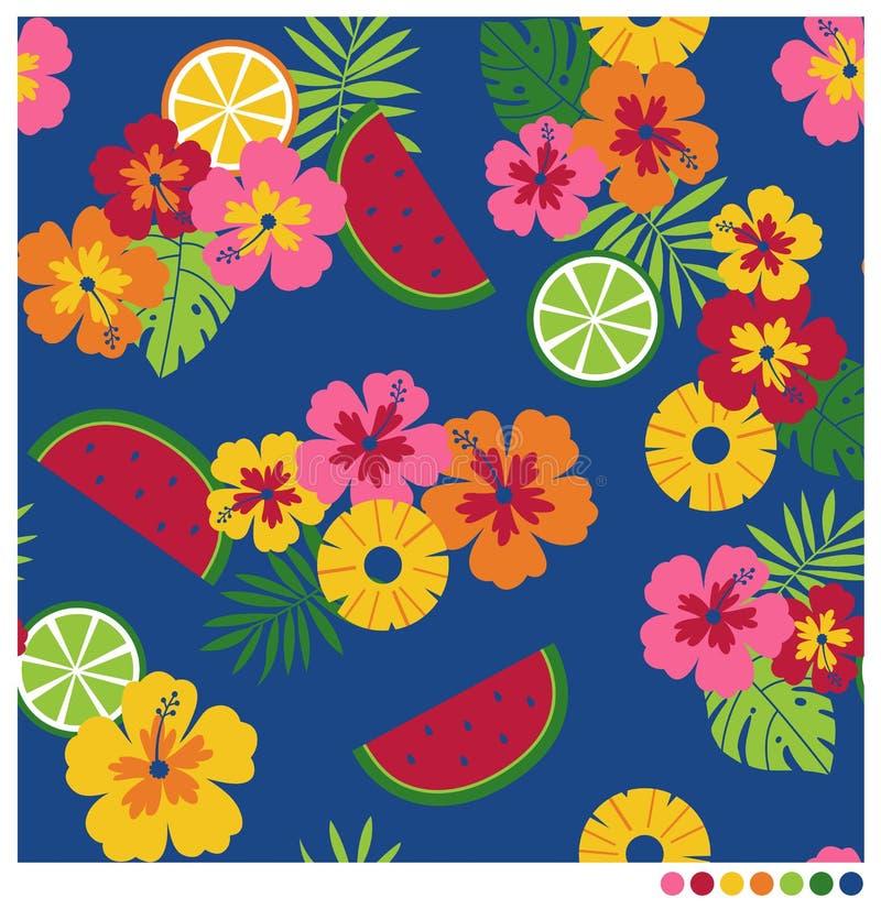 Teste padrão sem emenda do verão com hibiscus e frutos ilustração stock