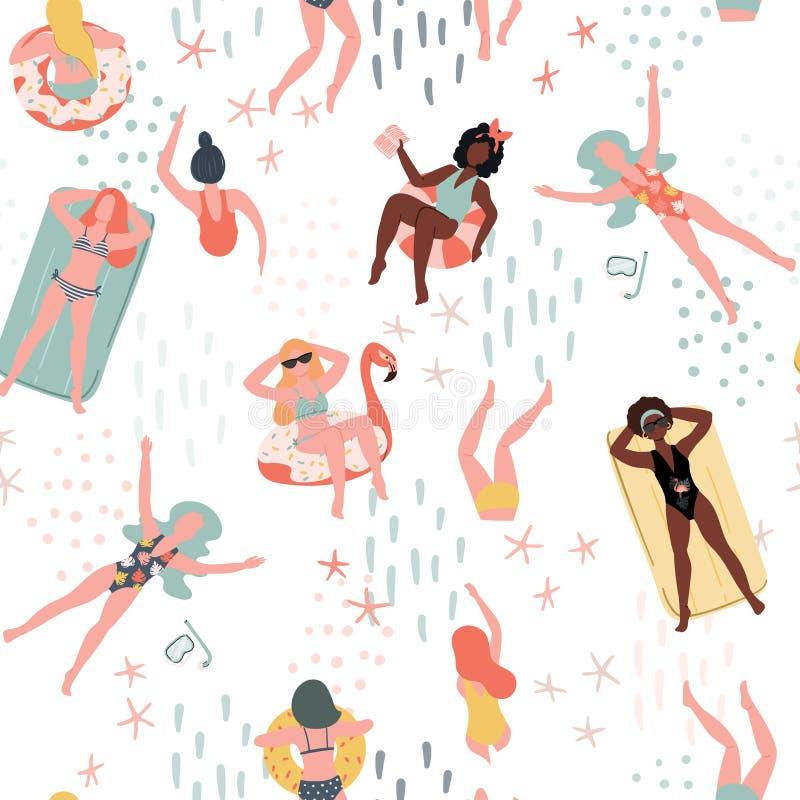 Teste padrão sem emenda do verão com povos nadadores As mulheres entregam o fundo liso tirado ilustração do vetor