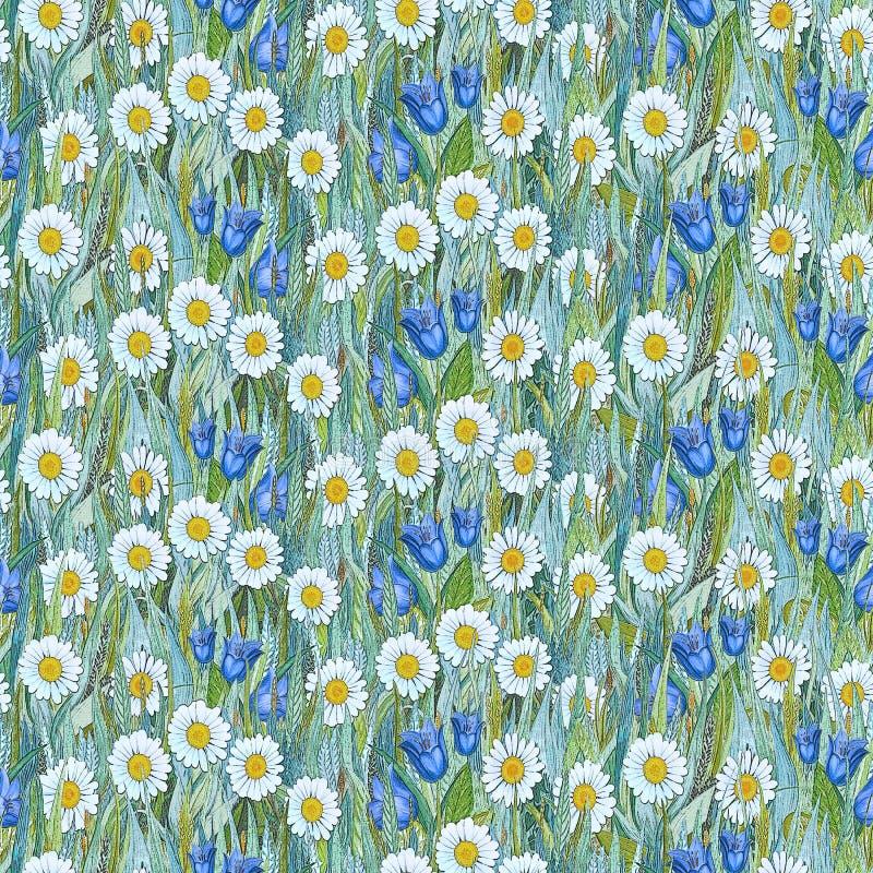 Teste padrão sem emenda do verão das camomilas, campainhas na grama ilustração do vetor