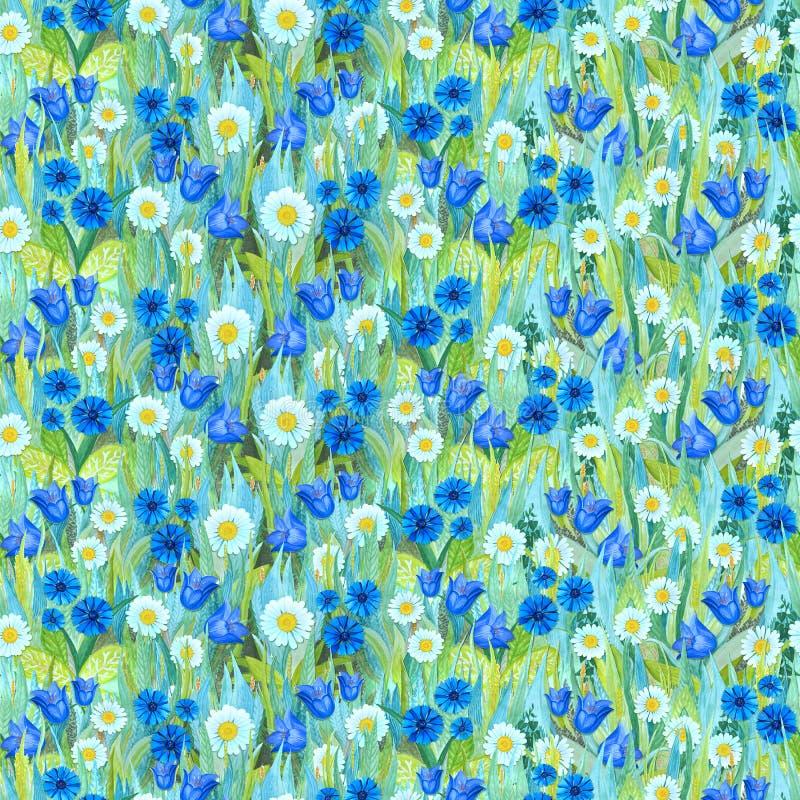 Teste padrão sem emenda do verão das camomilas, centáureas, campainhas na grama Fundo colorido sob a forma de uma clareira da flo ilustração do vetor