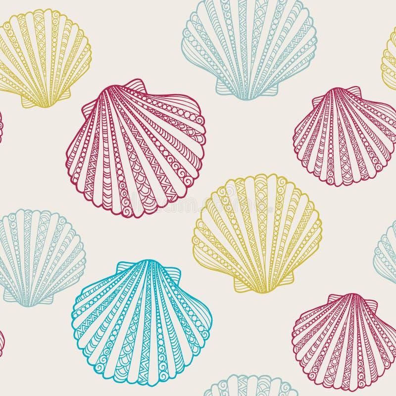 Teste padrão sem emenda do verão do vetor com ilustrações tiradas mão do shell da garatuja ilustração do vetor