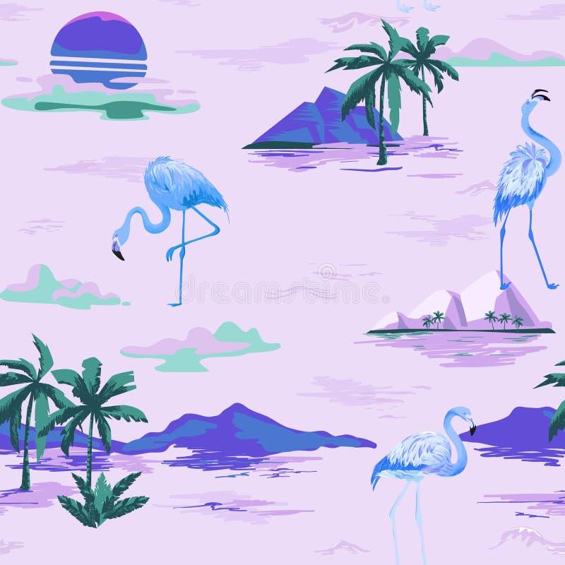 Teste padrão sem emenda do verão do flamingo tropical com palmeiras tropicas Fundo para pap?is de parede, p?gina da web do p?ssar ilustração do vetor