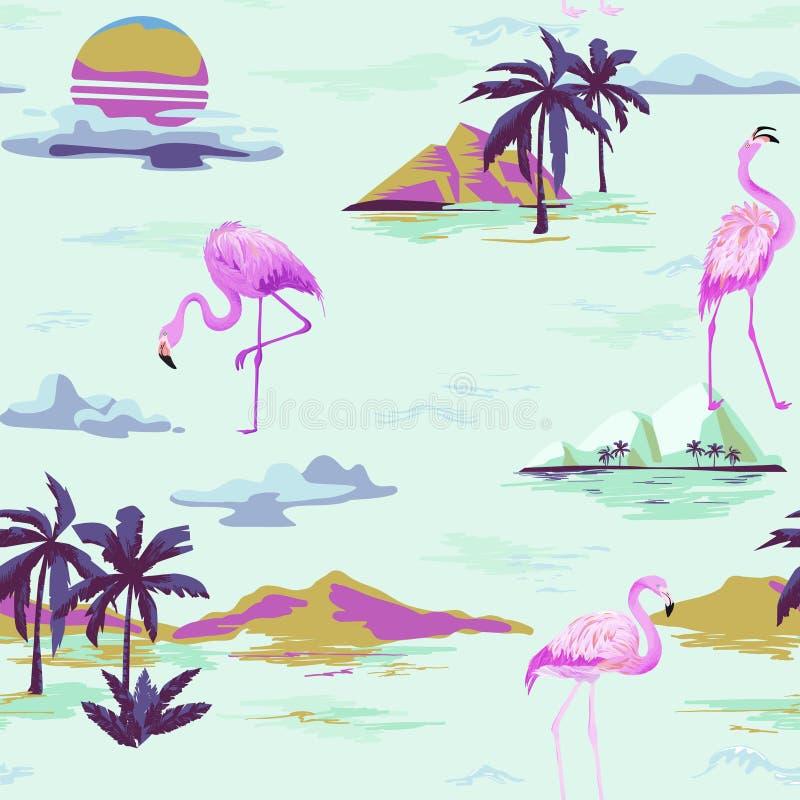 Teste padrão sem emenda do verão do flamingo tropical com palmeiras tropicas Fundo para pap?is de parede, p?gina da web do p?ssar ilustração stock