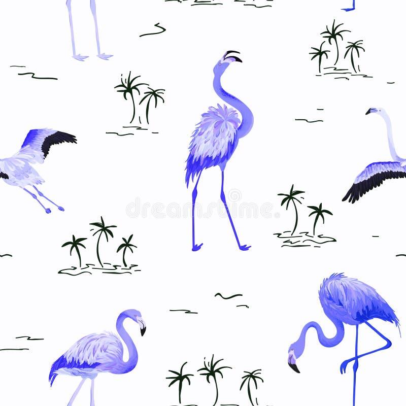 Teste padrão sem emenda do verão do flamingo tropical com palmeiras tropicas Fundo para pap?is de parede, p?gina da web do p?ssar ilustração royalty free
