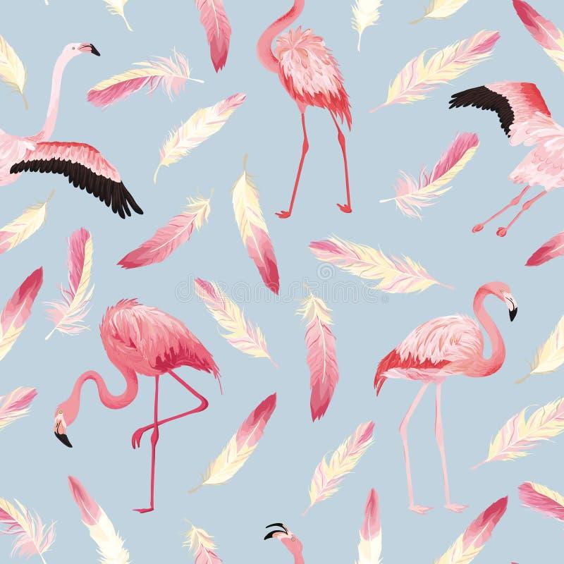 Teste padrão sem emenda do verão do flamingo tropical com penas cor-de-rosa Fundo para pap?is de parede, p?gina da web do p?ssaro ilustração do vetor