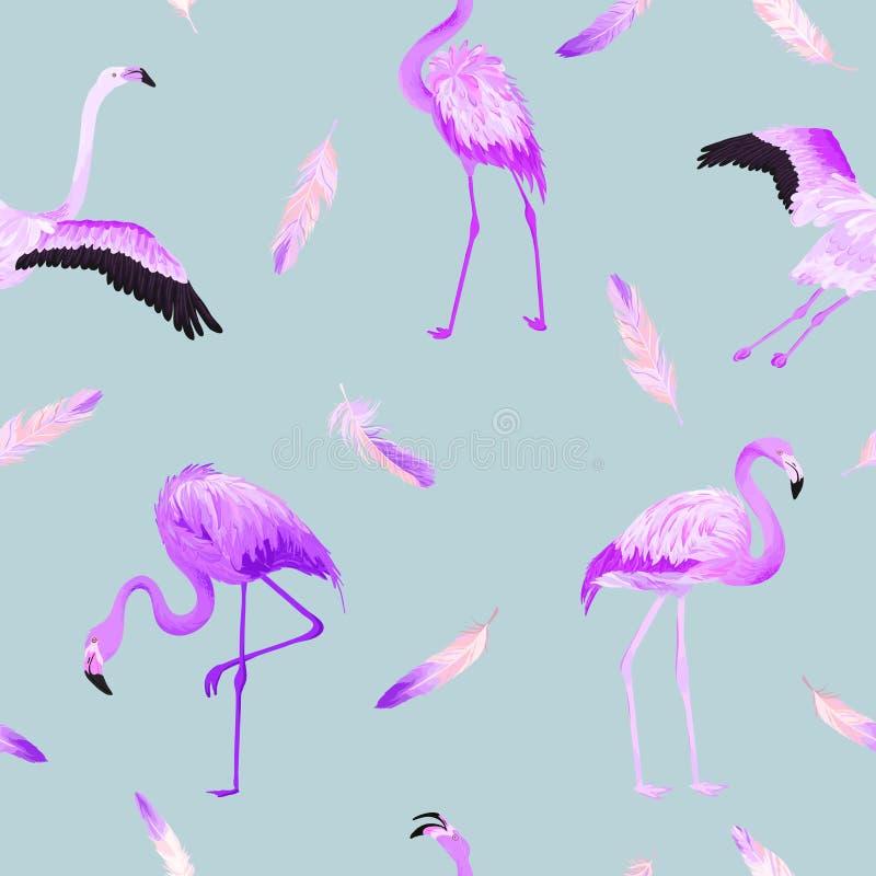 Teste padrão sem emenda do verão do flamingo tropical com penas cor-de-rosa Fundo para pap?is de parede, p?gina da web do p?ssaro ilustração stock