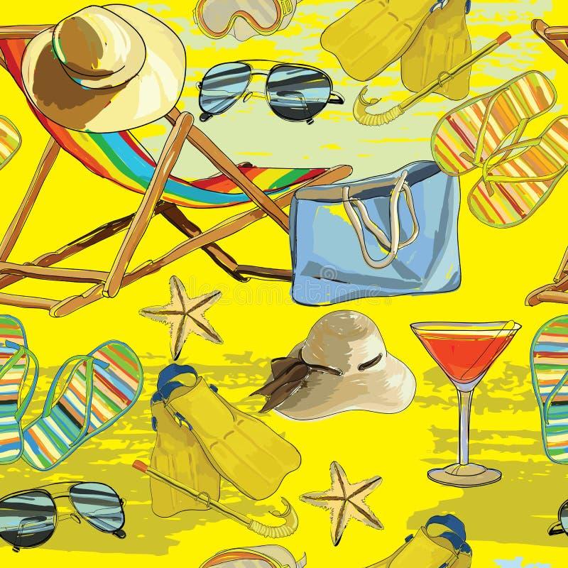 Teste padrão sem emenda do verão, recliner na areia com chapéu, sunglass ilustração royalty free