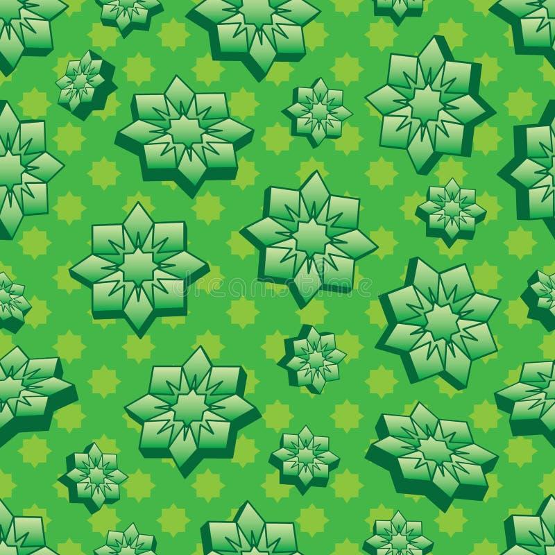 Teste padrão sem emenda do verde da forma 3d da ramadã ilustração royalty free