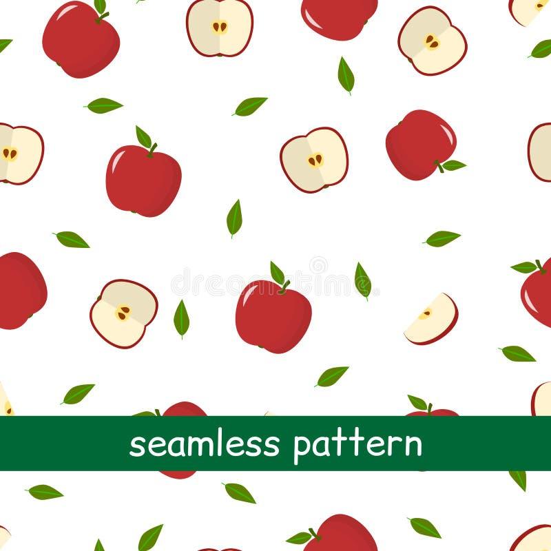 Teste padrão sem emenda do vermelho e da folha da maçã em um fundo branco ilustração royalty free